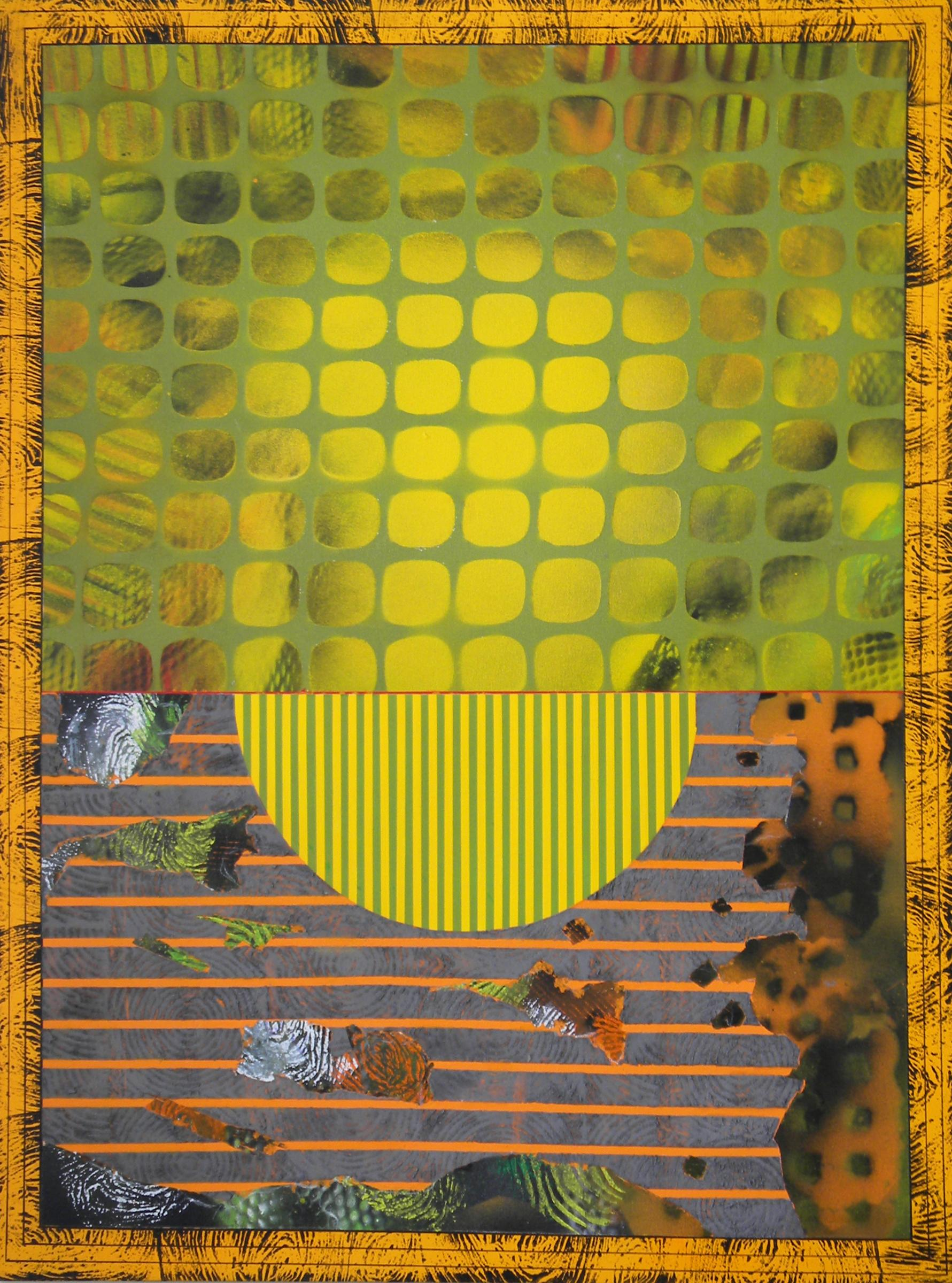Jane Sangerman_HinderD88, Acrylic Spray Paint, Canvas, Abstraction, Found Object