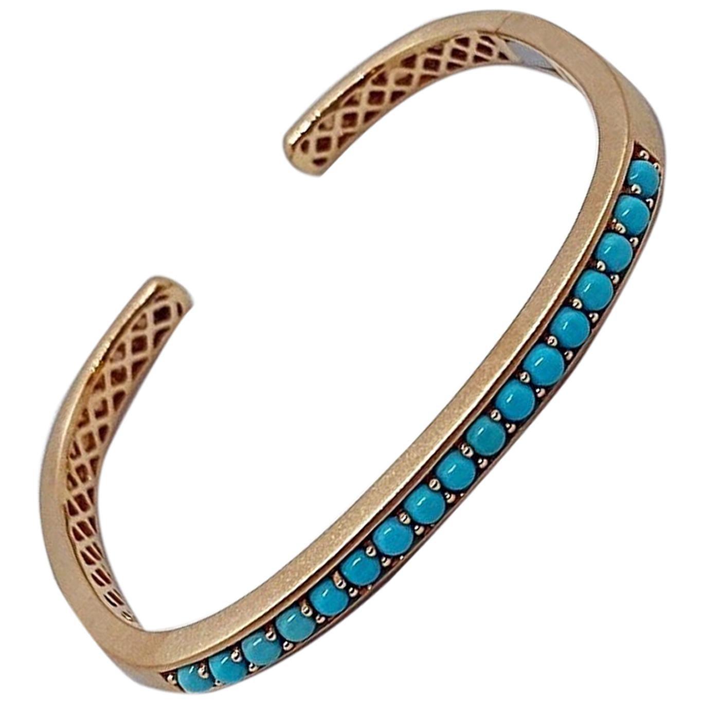 Jane Taylor 18 Karat Rose Gold Cuff Bracelet with Cabochon Turquoise