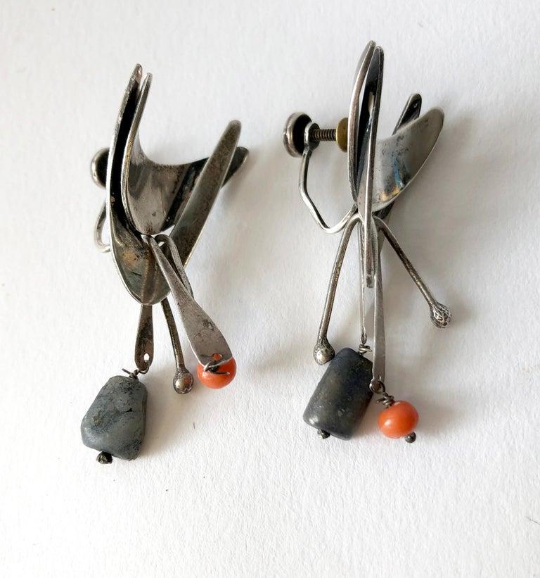Bead Jane Walker Sterling Silver Coral Wood American Modernist Kinetic Earrings For Sale