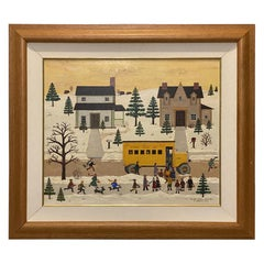"Jane Wooster Scott, Oil on Canvas Painting ""The Yellow School New Bus"""