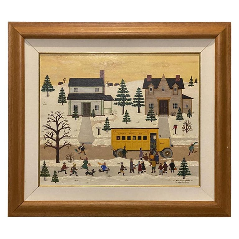 "Jane Wooster Scott, Oil on Canvas Painting ""The Yellow School New Bus"" For Sale"