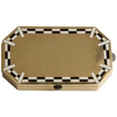 Janesich Art Deco 18k Yellow Gold and Enamel Vanity Case