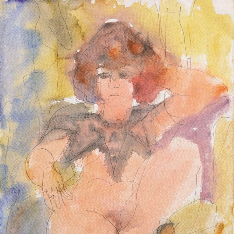 'Seated Nude', Musee d'Art Moderne, Paris, SFAA, LACMA, California Woman Artist - Post-Impressionist Painting by Janet Ament De La Roche