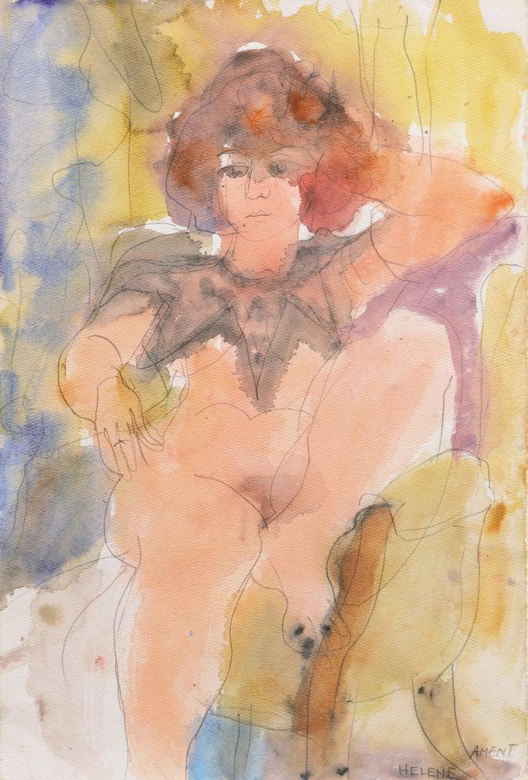 Janet Ament De La Roche Still-Life Painting - 'Seated Nude', Musee d'Art Moderne, Paris, SFAA, LACMA, California Woman Artist