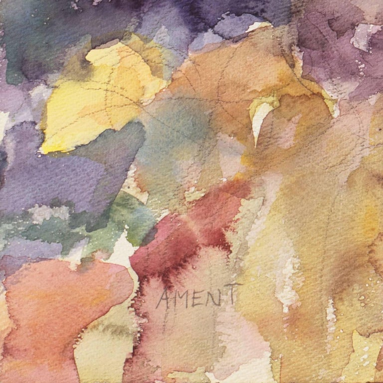 California Post-Impressionist Still Life, 'Irises', LACMA, MAM Paris - Brown Still-Life Painting by Janet Ament De La Roche