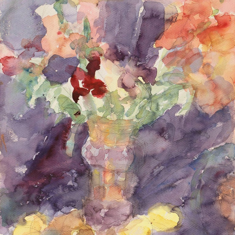 A lyrical watercolor of flowers informally arranged in two vases and contrasted against a lilac and purple background.  Signed lower left and lower right, 'Ament' for Janet Ament De La Roche (American, 1916-2000); additionally stamped verso with