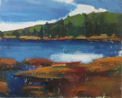 Lake with Blue Sky, Original Painting