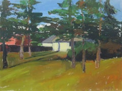 Yellow House with Yard, Original Painting