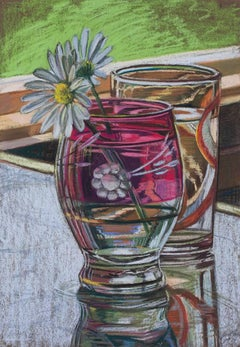 Janet Fish, Daisies, 1973, Still life watercolor on paper