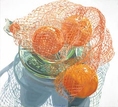 Janet Fish, Bag of Tangerines, impressionist still life oil painting, 2000