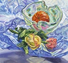 Janet Fish, Roses and Tangerines, impressionist still life oil painting, 2002