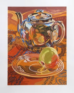 Teapot and Apple, Lithograph by Janet Fish