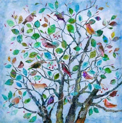 Family Tree - contemporary colorful mixed media floral bird painting on board