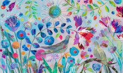 Turtle Doves - contemporary colourful floral and bird painting