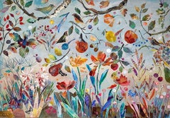Where Butterflies Hide - contemporary colourful floral bird mixed media painting