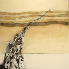 Away from Self, Modern Abstract Oil Painting Canvas Charcoal Drawing Geometric