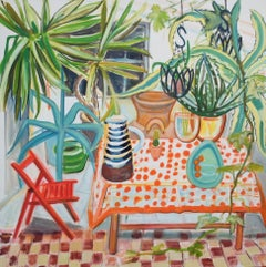 Huge Conservatory Plants and Spotty Tablecloth