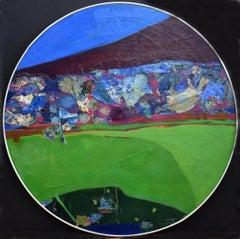 """Near Honolulu Hawaii""  Santa Fe Abstract Expressionist Round Painting"