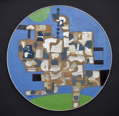 """""""Proud is My Bird""""  Santa Fe Abstract Expressionist Round Painting mid century"""