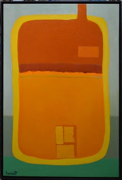 """""""SUNSET""""  YELLOWS ORANGES BRIGHT THE 1ST """"WOMAN"""" SANTA FE NEW MEXICO MODERNIST"""