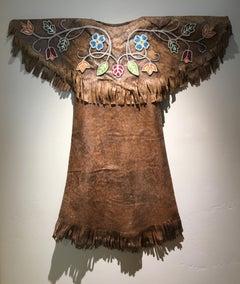 Woodlands Girls Dress (handmade paper cast, contemporary artifact, tan, color)