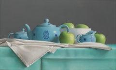 BLUE TEA SET AND GREEN APPLES, photo-realism, still life, bright blue, green