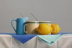 GRIFFIN'S GREEN STRIPED MUGS, Mugs on White-Clothed Table, Still-Life, Yellow
