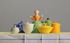 KEEP A LID ON IT, Cups on a Table, Sugar Pot, Green, Blue, Yellow, Still-Life