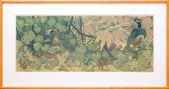 Quail Amid Wild Grapes II - Linocut Print by Janet Turner, 1966