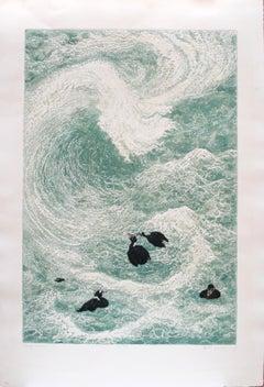"""Surf Scoters,"" intaglio/serigraph print by Janet Turner, 1971"