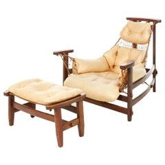 Jangada Jacaranda Lounge Chair, Ottoman, Jean Gillon Italma Wood Art Brazil 1968