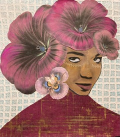 """""""Eloquence Speaks"""" mixed media portrait of a woman with red flowers in her hair"""