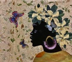"""Magnolia 1"" mixed media portrait of a Black woman wearing a Magnolia crown"