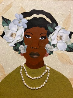 """""""Magnolia 2"""" mixed media portrait of a Black woman with magnolias in her hair"""