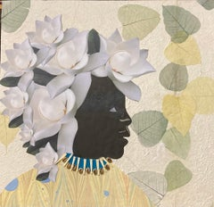 """""""Magnolia 3"""" mixed media portrait of a black woman with flowers on her head"""