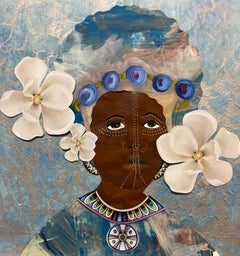"""""""Magnolia 4"""" mixed media portrait of an African woman with magnolias in her hair"""