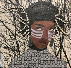 """""""Honor My World"""" mixed media portrait of a woman with cowrie shells and branches"""