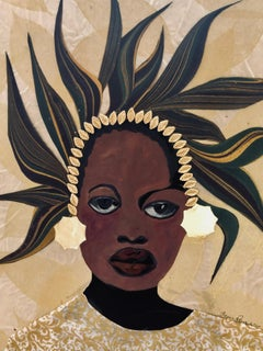 """""""Melanin"""" mixed media portrait of a black woman with gold and feather headdress"""