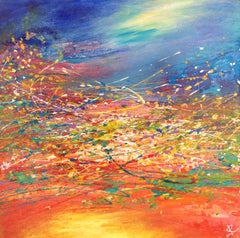 Abstract Landscape at Sunset, Painting, Acrylic on Wood Panel
