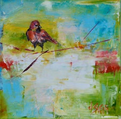 Abstract Bird Painting 'Red Bird at Dawn' Urban Wildlife Art, Contemporary Art