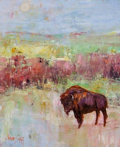 Abstract Bison Painting 'Heading Back to the Summer Pasture' Modern Wildlife Art