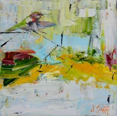Abstract Bird Painting 'Hummingbird Descending' Urban Wildlife Art, Modern Art