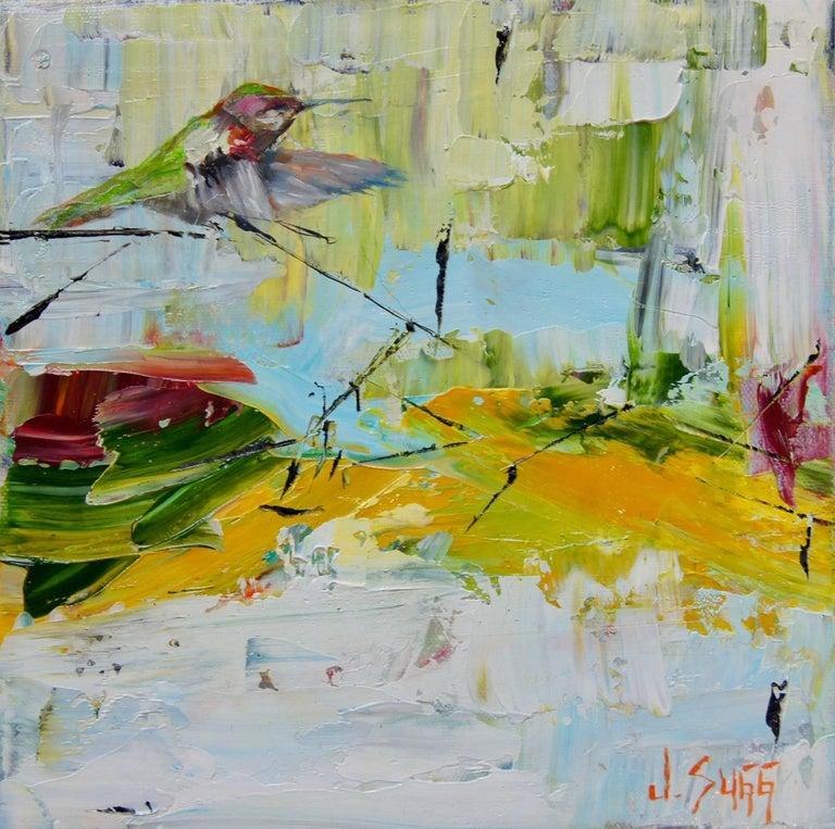 Abstract Bison Painting 'Hummingbird Descending' Urban Wildlife Art, Modern Art