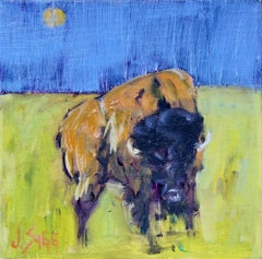 Abstract Bison Painting 'Moonlit Bison I' Urban Wildlife Art, Contemporary Art