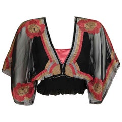 Janice Wainwright 1970s Vintage Embroidered Georgette Chiffon Top