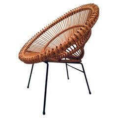 Janine Abraham & Dirk Jan Rol Vintage Rattan Chair, ca. 1960s