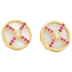 Janis Kerman, 18 Karat Gold, Diamond, Pink Sapphire, Mother of Pearl Earrings