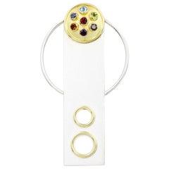 Janis Kerman, Gem Stones in Silver and Gold Sundial Pendant Brooch