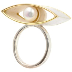 Janis Kerman, Sterling Silver Gold Pearl Ring