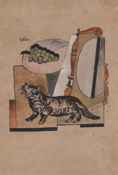 Cat and grapes - Jankel Adler, polish, modern art, still life, cat, fruit